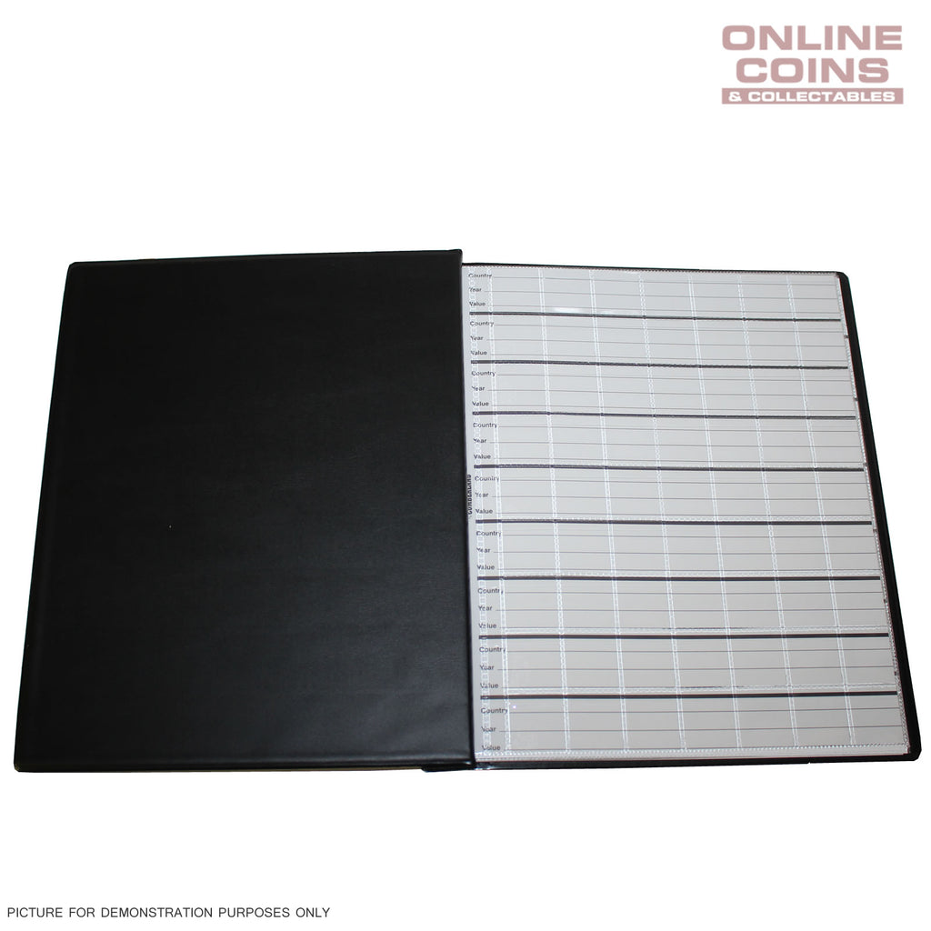 Renniks Coin Album Padded leatherette Cover Including 6 Coin Album Pages - BLACK