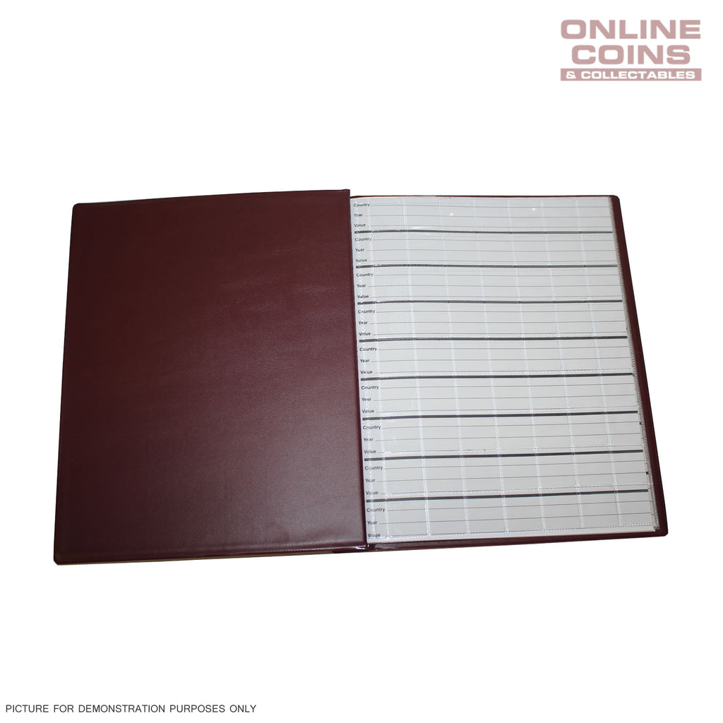 Renniks Coin Album Padded leatherette Cover Including 6 Coin Album Pages - RED
