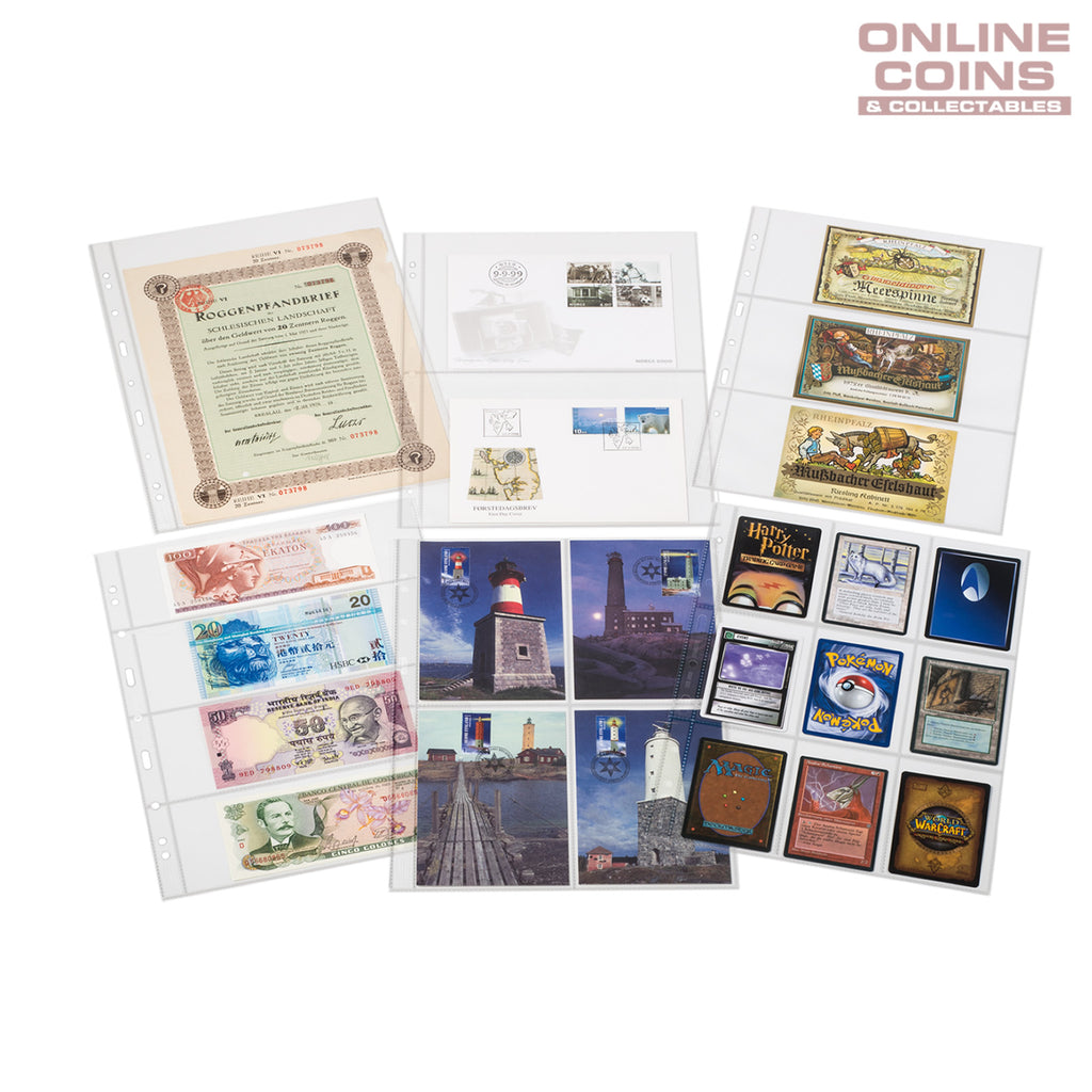 SH312-3/3C Clear Album Pages For Banknotes and Stamps - Suits Grande albums Packet of 50