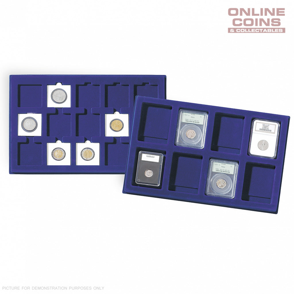 Lighthouse Coin Presentation Trays x 2 TAB77 Blue - Holds 77 Coins up to 22mm