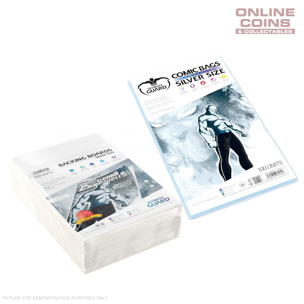 BUNDLE ULTIMATE GUARD Comic Series Resealable SILVER Size Comic Bags & Backing Boards x 100