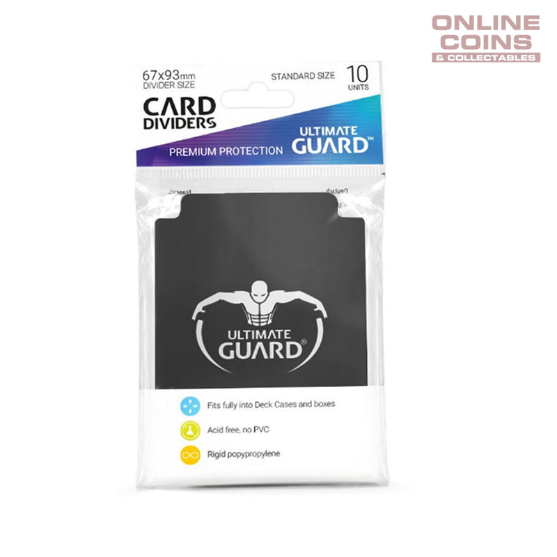 Ultimate Guard TRADING CARD STORAGE DIVIDERS PACK OF 10 - BLACK
