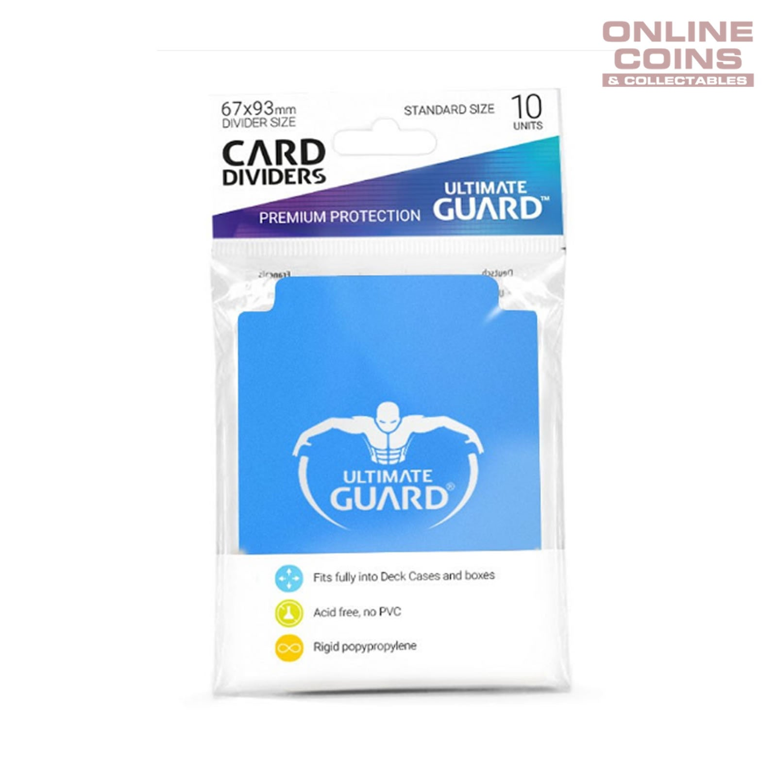 Ultimate Guard TRADING CARD STORAGE DIVIDERS PACK OF 10 Light Blue