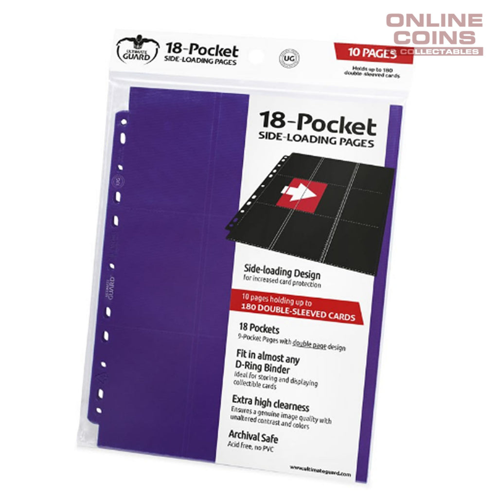 Ultimate Guard 18-POCKET SIDE-LOADING TRADING CARD PAGES - PURPLE