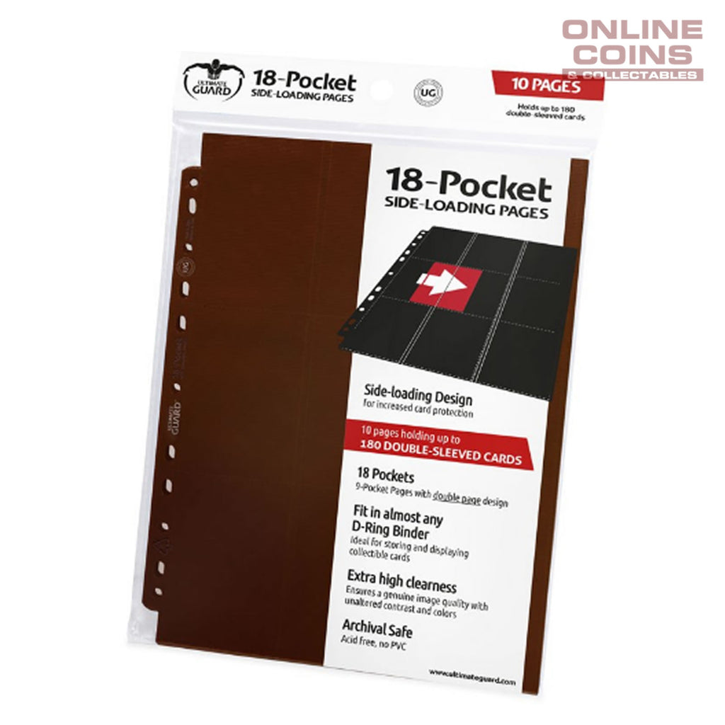 Ultimate Guard 18-POCKET SIDE-LOADING TRADING CARD PAGES - BROWN