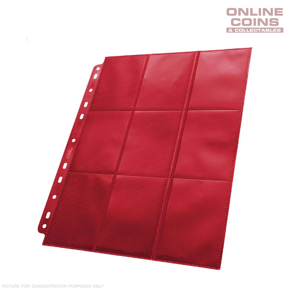 Ultimate Guard 18-Pocket Side-Loading Trading Card Pages - RED TRAY OF 50