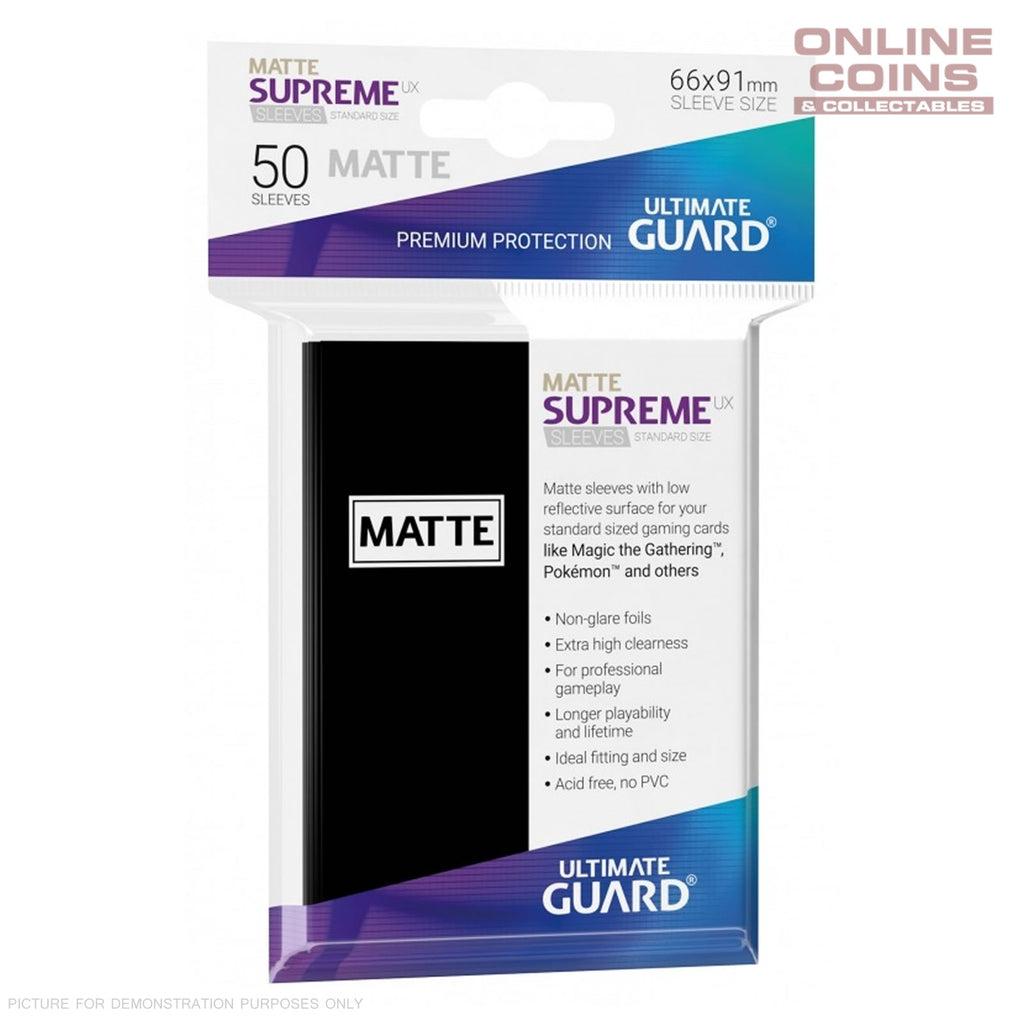 Ultimate Guard SUPREME UX MATTE Standard Card Sleeves - BLACK - Pack of 50