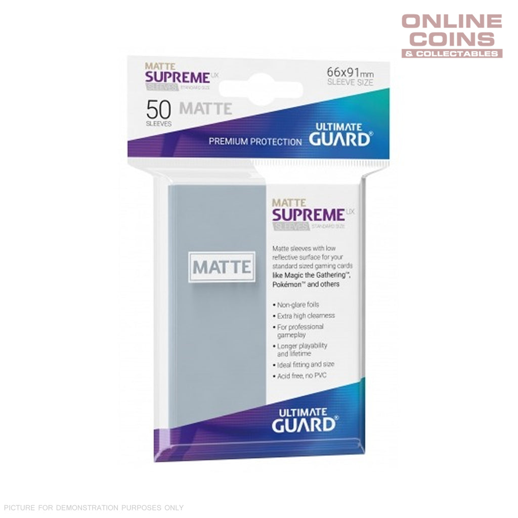 Ultimate Guard SUPREME UX MATTE Standard Card Sleeves - TRANSPARENT - Pack of 50