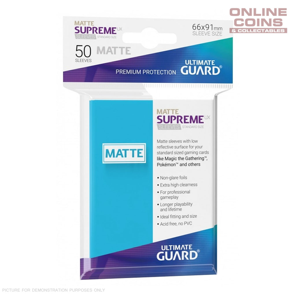 Ultimate Guard SUPREME UX MATTE Standard Card Sleeves - LIGHT BLUE - Pack of 50
