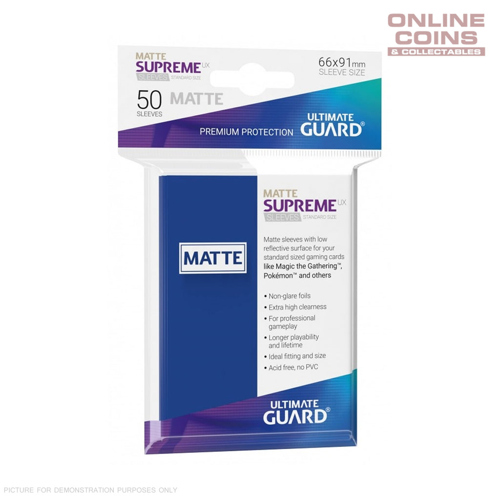 Ultimate Guard SUPREME UX MATTE Standard Card Sleeves - BLUE - Pack of 50