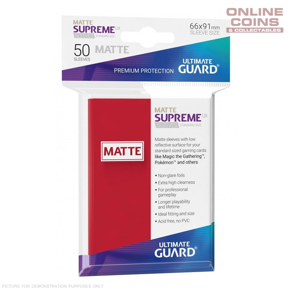 Ultimate Guard SUPREME UX MATTE Standard Card Sleeves - RED - Pack of 50