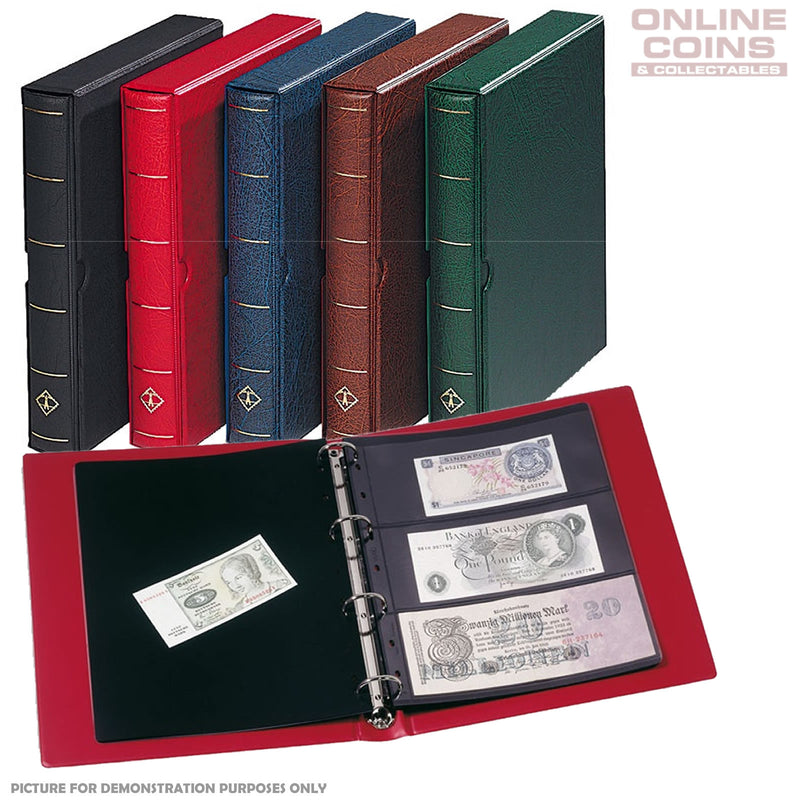 Lighthouse - Vario F Banknotes and Stamps Album With Slipcase, Pages and Black Interleaves - Red
