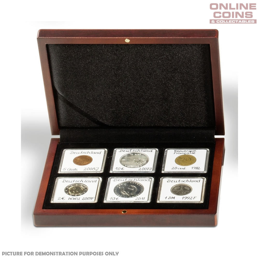 Lighthouse Volterra Timber Coin Presentation Case for Six Quadrum Capsules