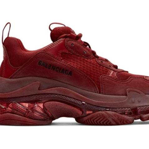 TRIPLE S RED BURGUNDY CLEAR SOLE