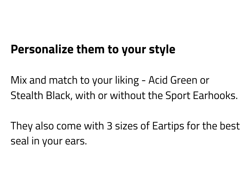 Acid Green/Black Eartips and Earhooks