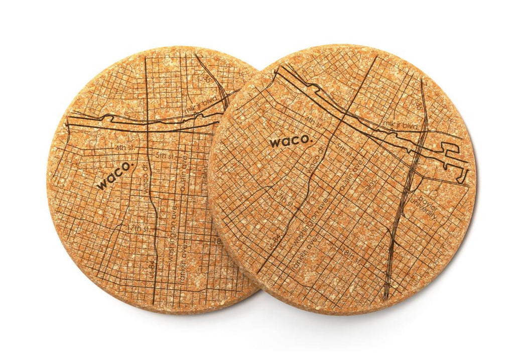 Waco Cork Coaster (Pair)