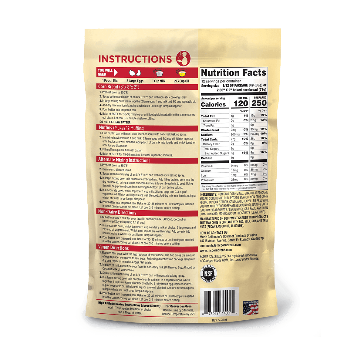 Gluten-Free Corn Bread Mix - 14 oz
