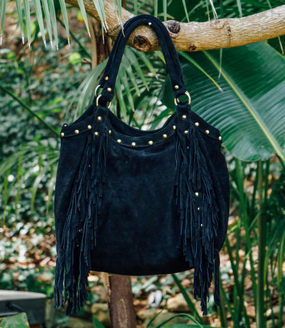 BLACK FINGE HANDBAG--SOLD
