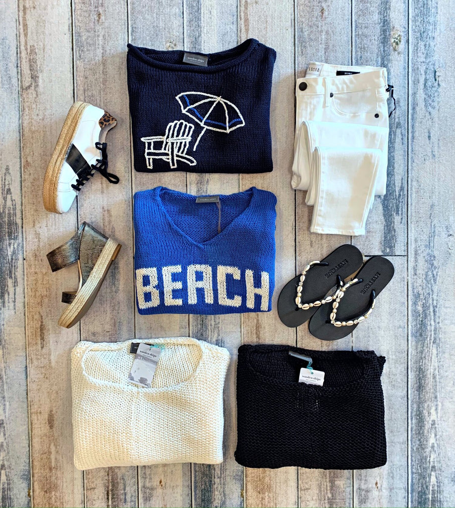 Wooden Ships Key West Crewneck Cotton, Sweater, Beach Sweater, and Adirondack Sweater w/ Matisse Pewter Wedges