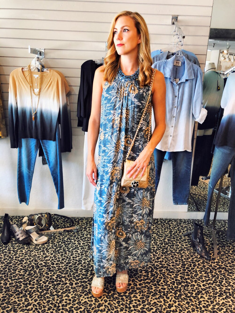 Holiday Trading Co Havana Maxi Dress, INZI Flower Crossbody, and Nakamol Lazzarotto Layered Necklace