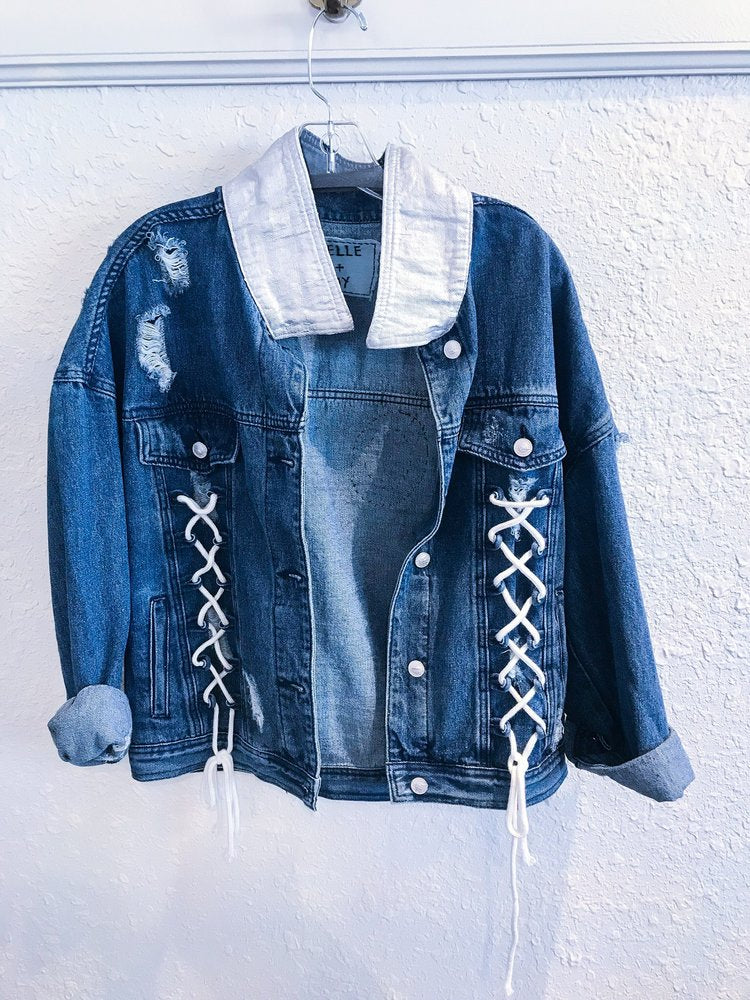 Belle + Day LOVE Lace Up Denim Jacket