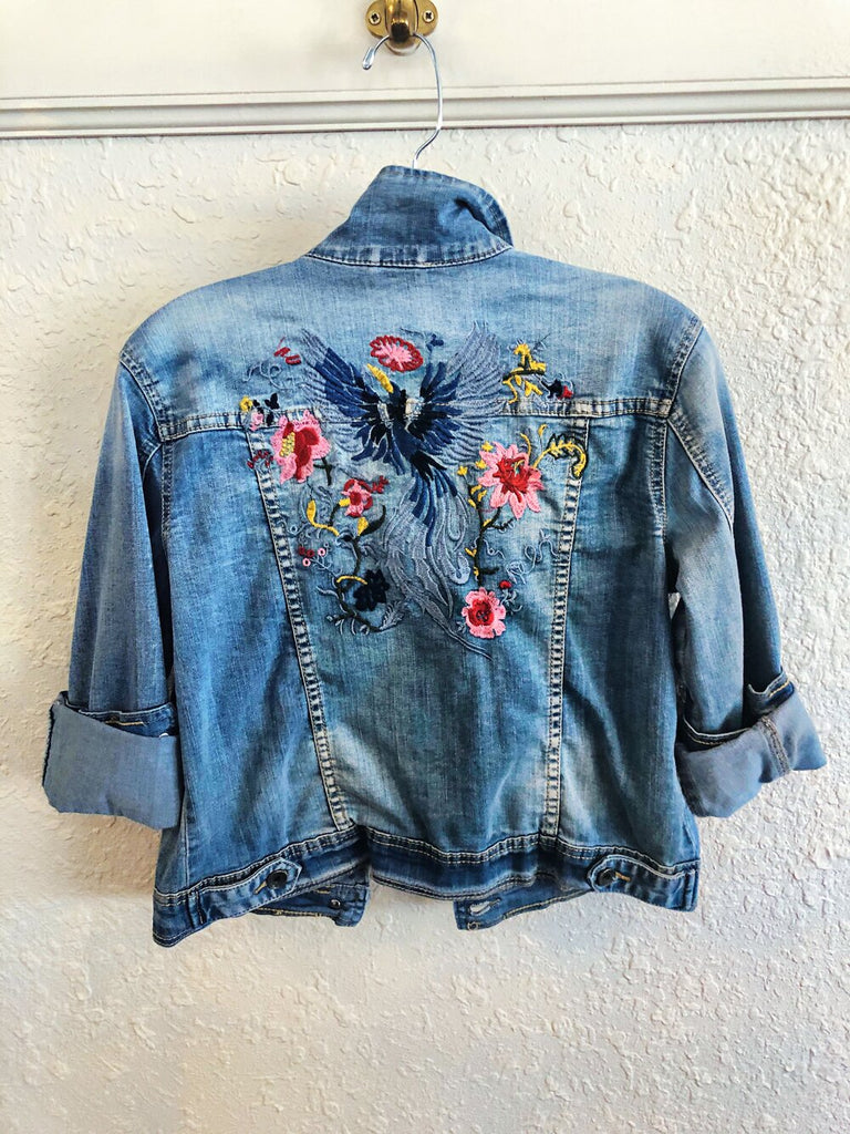 Free For Humanity Embroidered Denim Jacket and Brand Bazar White Skirt