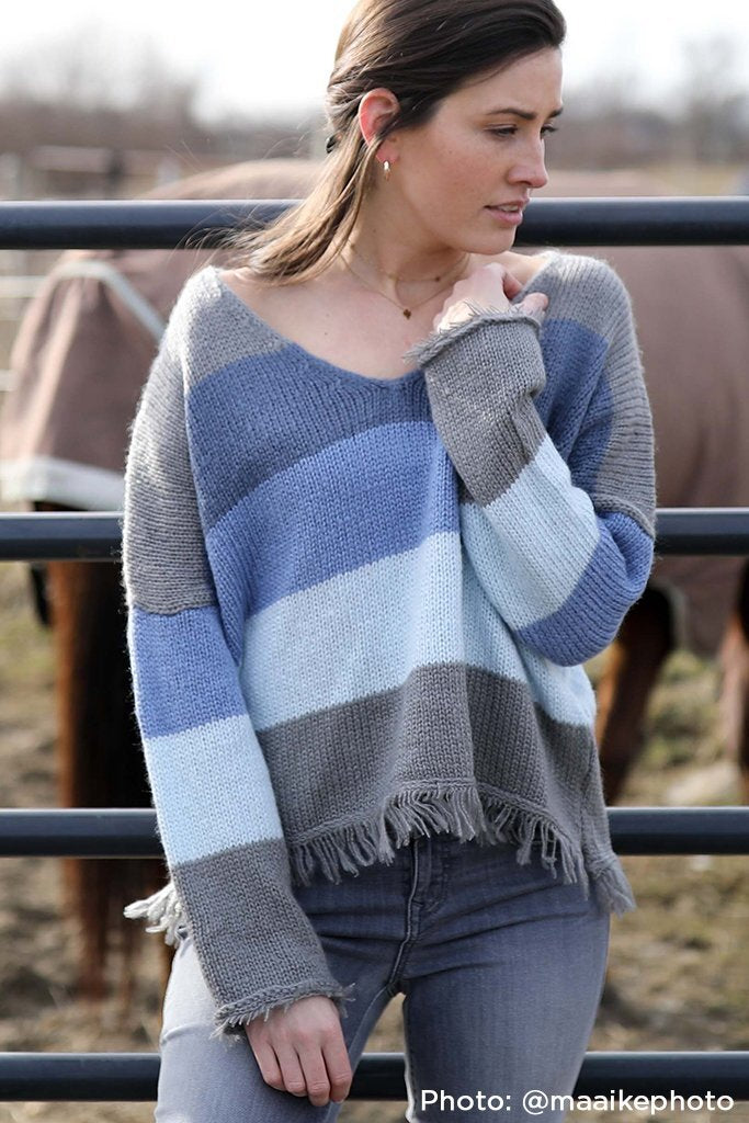 Wooden Ship Knits Kaia Fringe V Neck Sweater