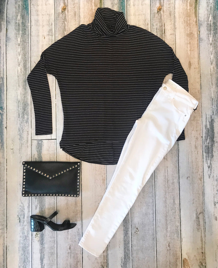 Bobi Striped Loose Turtleneck Long Sleeve Top