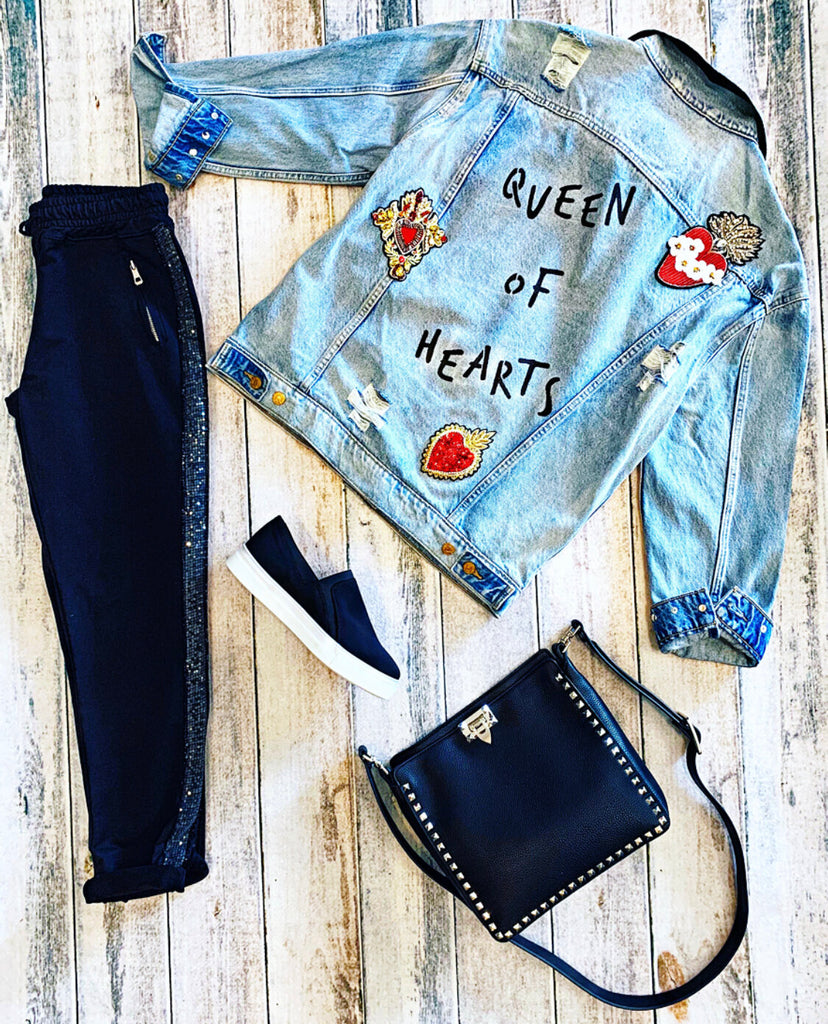 Belle + Day QUEEN OF HEARTS Denim Jacket and FREE Sequin Black Pants