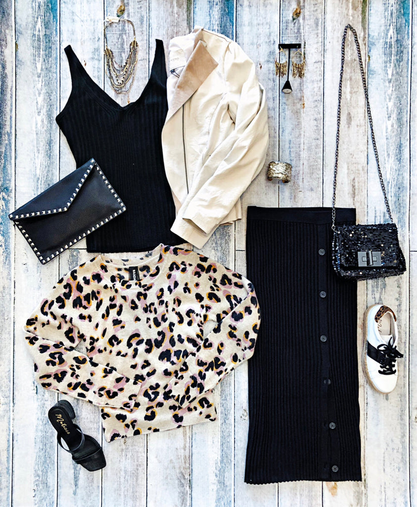 Naadam Ribbed Black Tank, Button Skirt, and Animal Print Sweater