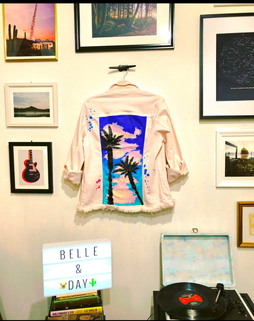 Belle + Day SUNSET Denim Jacket in Blue/Pink