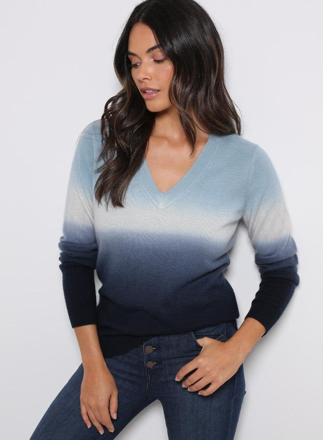 MINNIE ROSE Dip Dye Cotton V-Neck Pullover