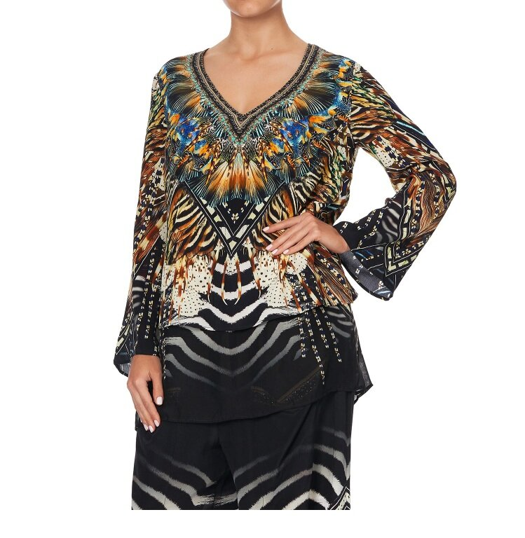 Camilla Lost Paradise Blouse with Side Split Underlay