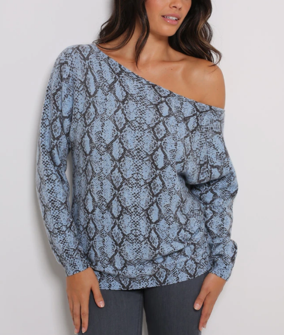 Minnie Rose Snake Print Combo One Shoulder Pullover