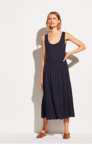 VINCE. Pleated Scoop Neck Tank Dress