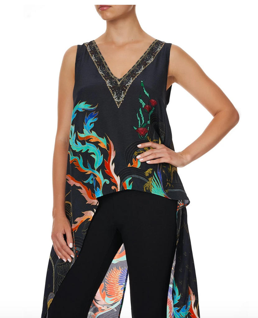 Camilla High Low Cross Overlay Top Wise Wings