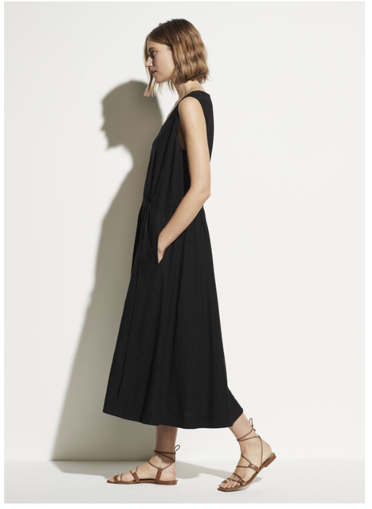 VINCE. Drawstring V-Neck Dress