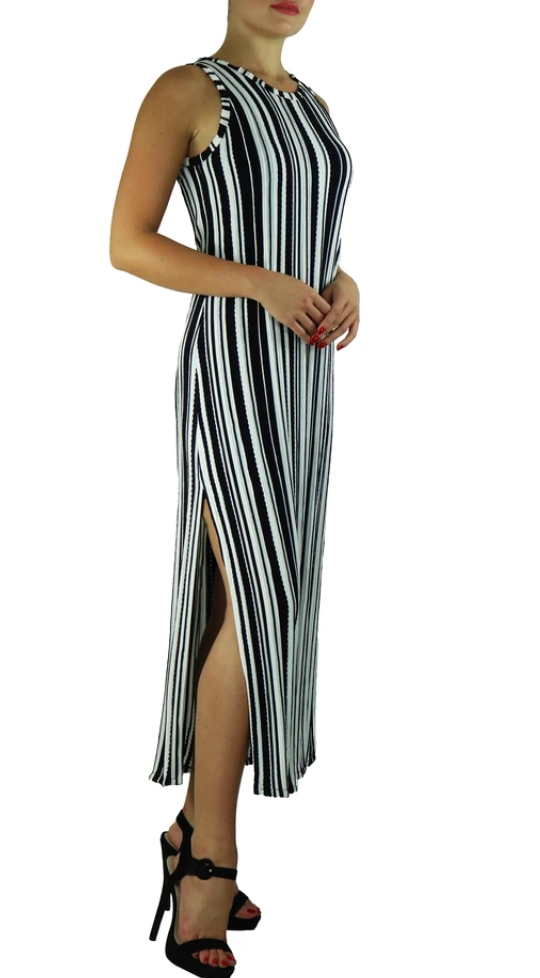 Elana Kattan SIBEL Sleeveless Crew Neck Vertical Stripe Maxi Dress with Slits