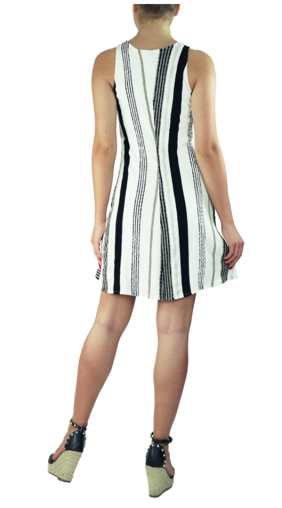 Elana Kattan FONTANA Textured Stripes Princess Seam A-line Dress