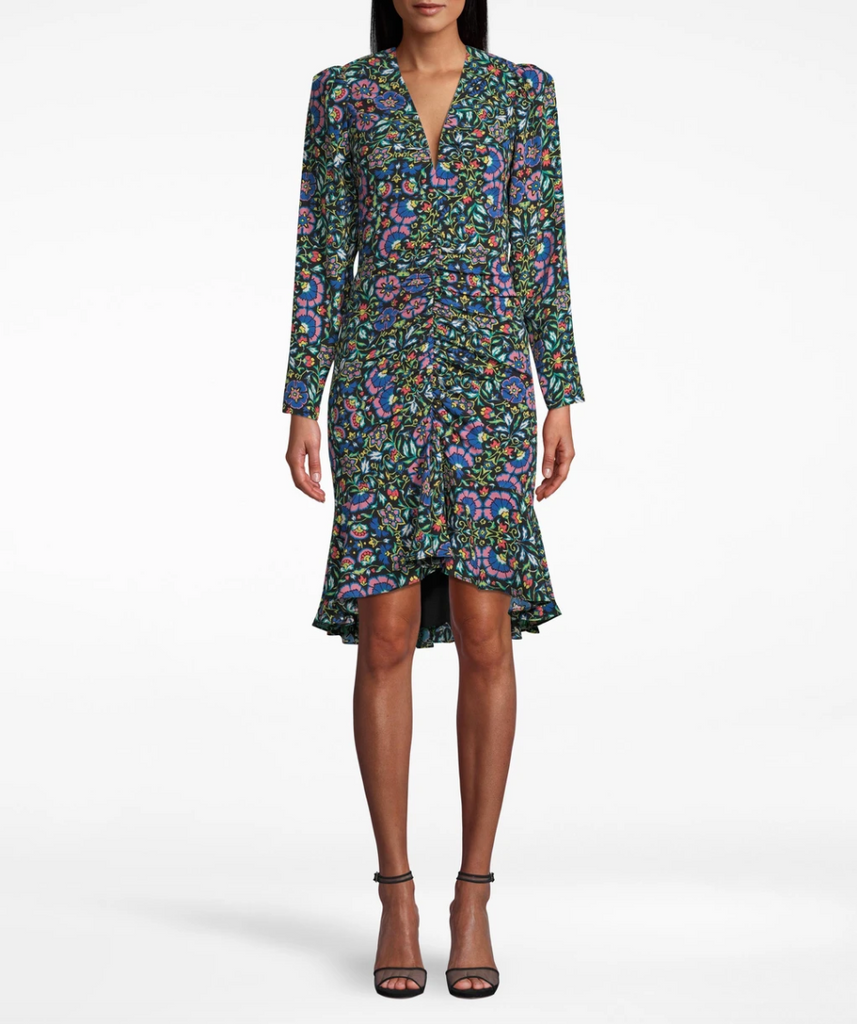 Nicole Miller Mosaic Silk Gathered Front Dress in Black/Multicolor