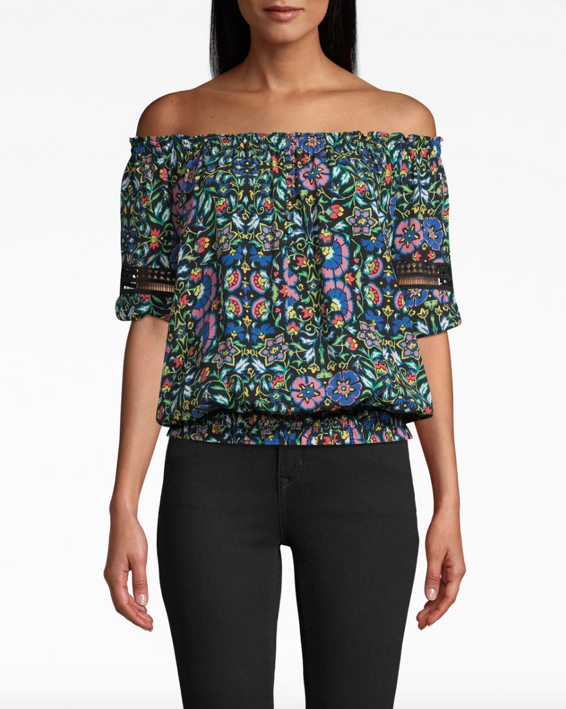 Nicole Miller Black/Multicolor Mosaic Silk Off The Shoulder Smocked Top