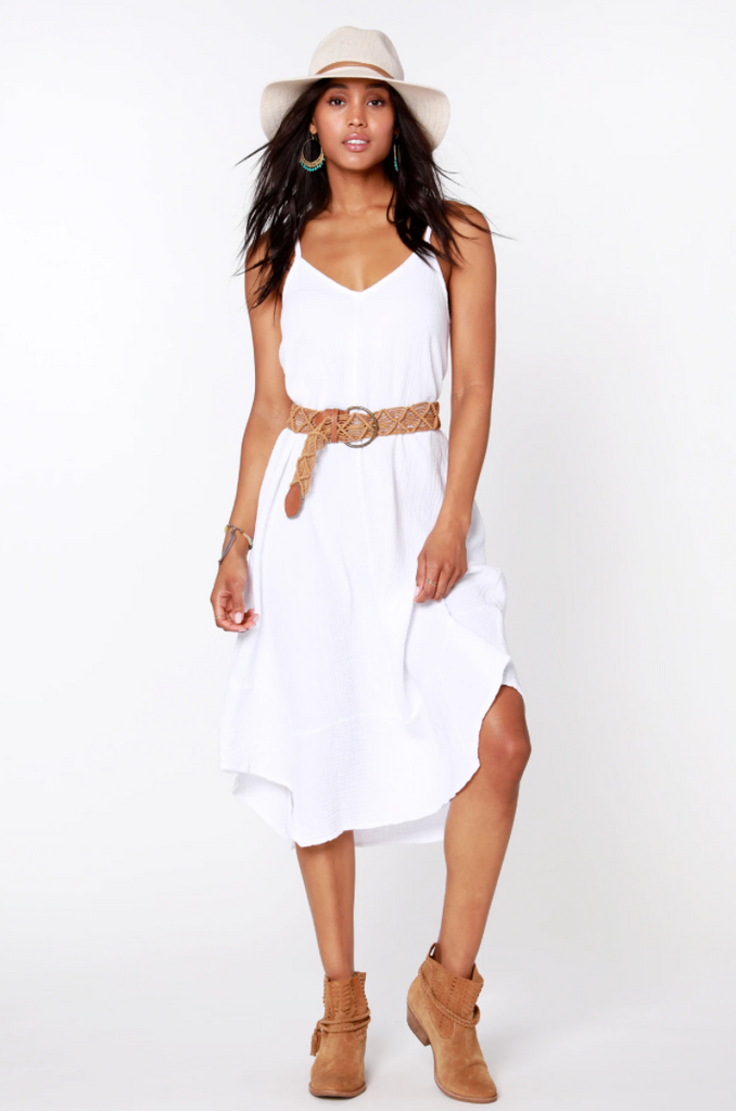 Bobi Boho Handkerchief Dress in White