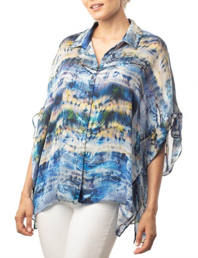 Lola & Sophie Mixed Animal Print Boxy Shirt in Blue
