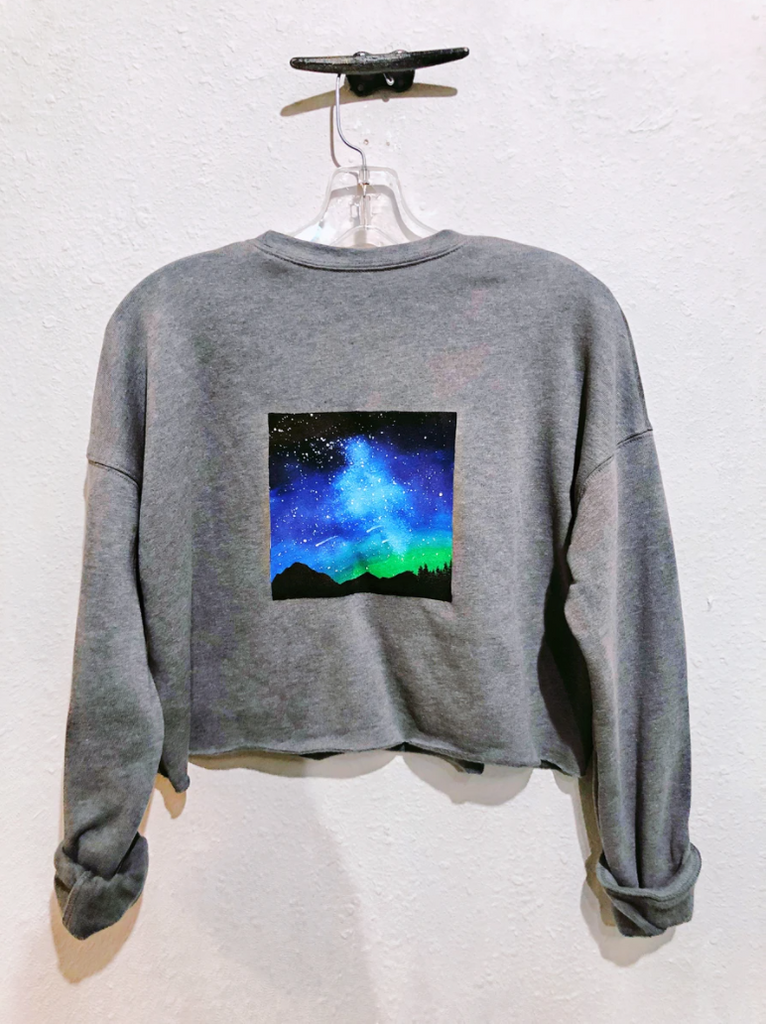 Belle + Day Northern Lights Cropped Sweatshirt in Gray