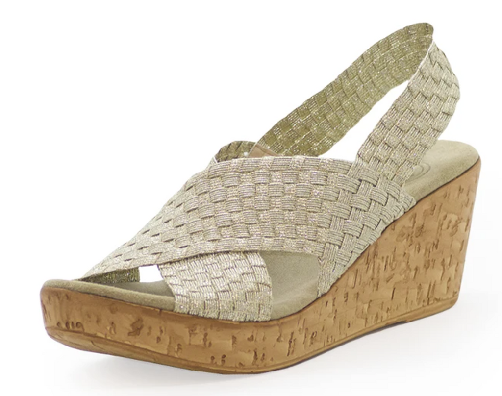 Charleston Shoe Co. MED Gold Woven Wedge
