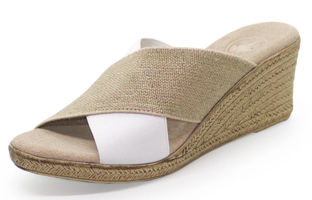 Charleston Shoe Co. Backless Cannon Linen/White Wedge
