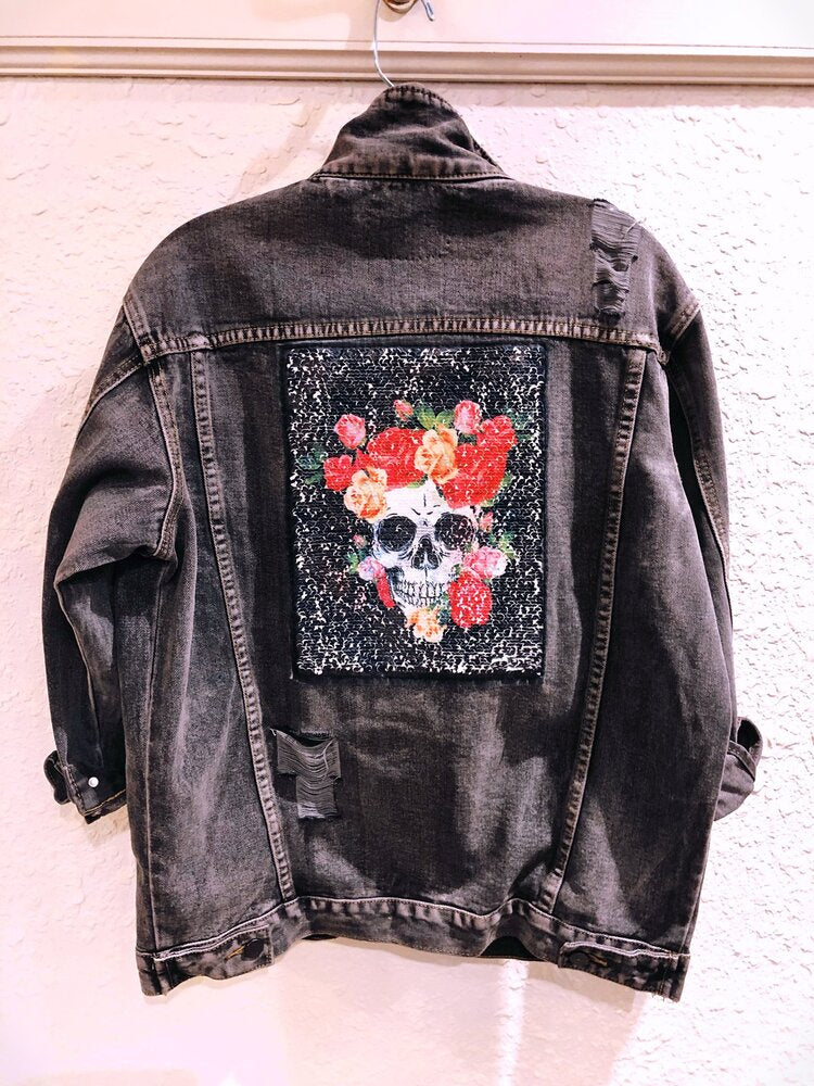 Belle + DAY FLORAL SKULL Dark Gray Boyfriend Denim Jacket