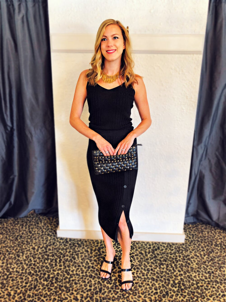 Naadam Ribbed Black Tank, Cardigan, & Button Skirt, INZI Studded Clutch, & Erin Knight Necklace