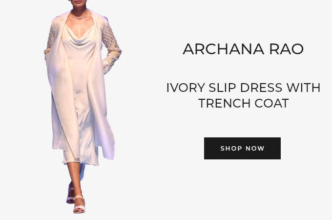 Archana Rao ivory slip dress with trench coat