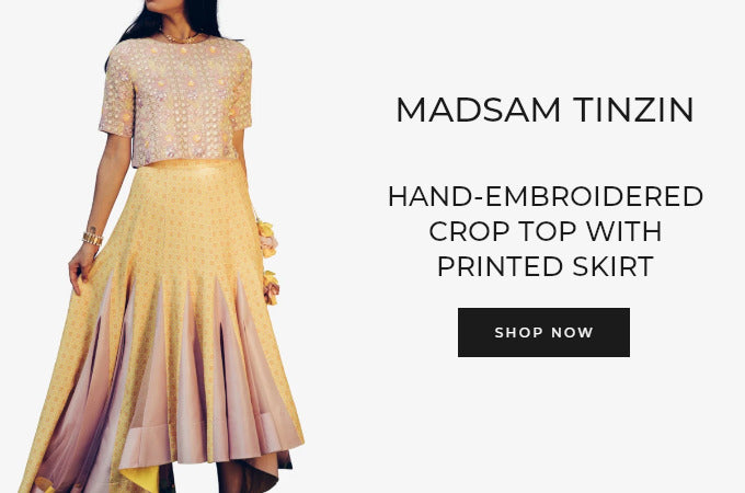 Madsam Tinzin hand-embroidered crop top with printed skirt